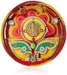 Rs.100 – Aheli Ganesh Thali & OM AS Rakhi with Roli Chawal Tilak