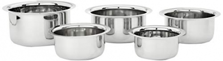 Amazon Brand – Solimo Stainless Steel Tope Set (5 pieces)