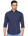 John Players Men's Solid Slim Fit Casual Shirt (JCMWSHA18000400_True Navy_42)