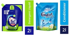 Surf Excel Top Load Matic Liquid Detergent Pouch – 2 L & After Wash Morning Fresh Fabric Conditioner Pouch – 2 L Combo at Rs.300